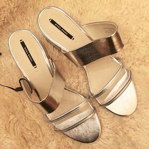 Zara Basic Metallic Silver Heeled Sandals